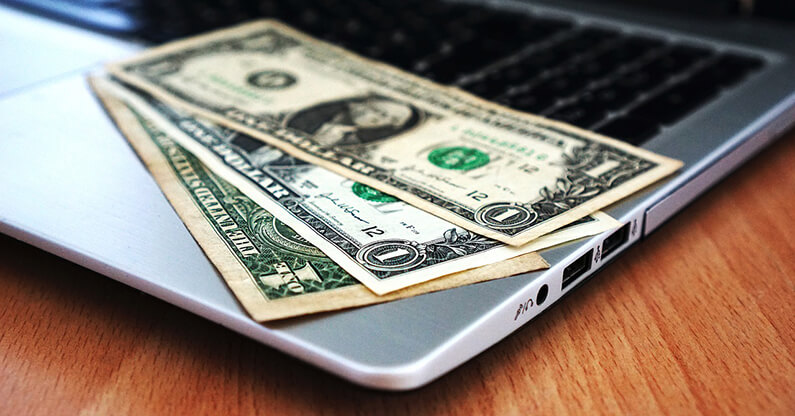 Umsatz-Geld-Laptop
